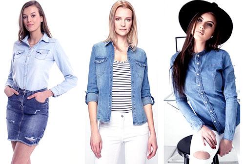 trzy kobiety ubrane w koszule jeansowe i spódniczki