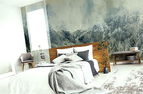 fototapeta z górami w sypialni
